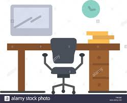 Office Banner Template Office Space Chair Office Table Room Flat Color Icon