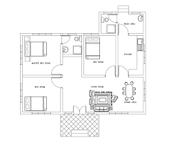 House Plan Three Bed Room Small House Plan Dwg Net Cad Blocks And