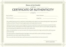 Certificate Of Authenticity Template Impressive Fine Art Certificate Of Authenticity Template Free Sample For