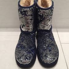 Ugg Classic Short Sparkles (silver navy blue)