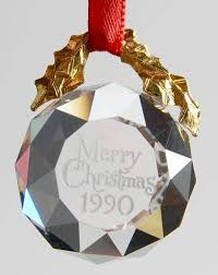 Annual Ornaments Swarovski Annual Ornaments Merry Christmas Etched Boxed By
