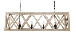 large wooden criss cross rectangular chandelier american or french country style