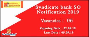 Syndicate Bank Syndicate Bank So Recruitment Notification 2019 Syndicate