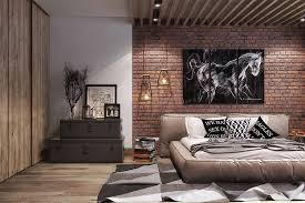 masculine bedroom white horse wall picture