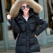 1pc 2016 winter jacket women thickening cotton padded coat fur hood parka