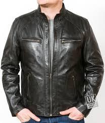 mens black leather biker jacket sigma front