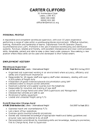 sample of warehouse supervisor resume resumes design warehouse resumes