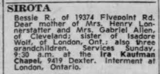 Bessie Wolf Sirota - Obituary - Newspapers.com