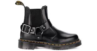 dr martens win black leather ankle boots with buckle men s mid boots in black in black for men save 10 lyst