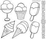 Мороженое и торт раскраски