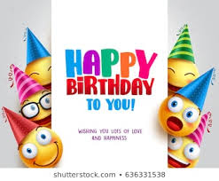 happy birthday vector design with smileys wearing birthday hat in white empty e for message and