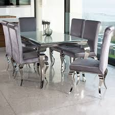 newest louis contemporary black or white glass chrome 1 6m 7 piece dining table beautiful dining room