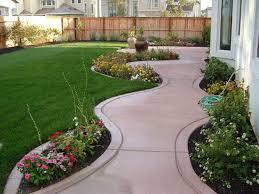Landscape, Interesting Green Rectangle Modern Grass Small Yard Landscaping  Decorative Flowers And Ceramics Floor Design