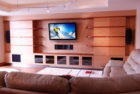 ... Luxurious Home Movie Theater Rooms : Beautiful Home Theater In Living  Room Design Ideas With Wooden ...