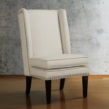 dining room modern linen upholstered wingback chair with