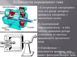 Презентация на тему Электродвигатели и их применение их  5 б Двигатели переменного