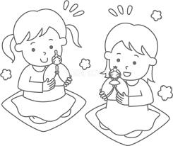 かわいいお内裏様とお雛様で遊ぶ女の子ひな祭り塗り絵無料イラスト