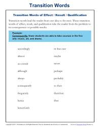 Transition Word Chart Transition Words Resources Worksheets K12reader