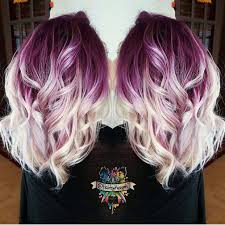 Plum purple hair color base with billowy white blonde hair by ...