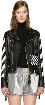 off white black leather diagonals jacket women officially authorized off white shorts red uk