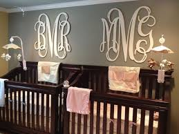 twins nursery furniture. twin nursery madeline and brayden have their monogram wall art from league of letters on twins furniture