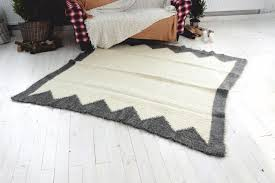 details about large wool rug white area rug modern contemporary geometric living room decor