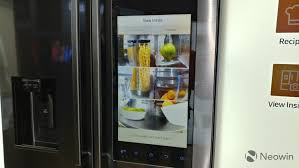 samsung tv refrigerator. you can also see what\u0027s inside of the fridge, as there\u0027s a panoramic camera it. it only shows an image contents though, samsung tv refrigerator c