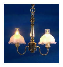 melody jane dolls house double ceiling light frosted pie crust chimney shades chandelier intl
