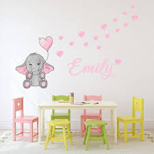 custom name elephant heart nursery wall
