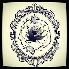 Black Ink Rose In Frame Tattoo Design  Pinterest