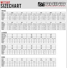 Rhino Wetsuits Size Chart Wetsuit Megastore