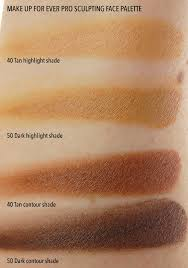 make up for ever pro sculpting face palette 40 tan 50 dark highlight contour parison swatches
