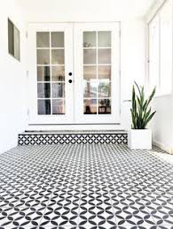 black and white tile floor. Black \u0026 White Cement Tile In Sunroom | BrittanyMakes And Floor