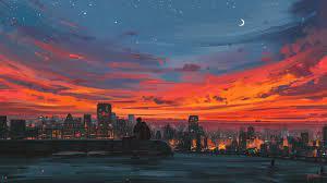 Aesthetic Sunset Anime Wallpaper HD ...