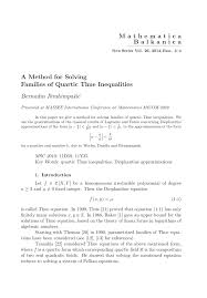 pdf a parametric family of quartic thue inequalities