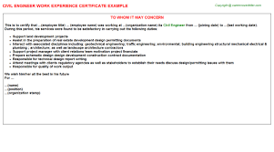 experience letter sample civil engineer job experience letter