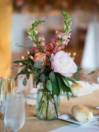 Wedding Flower Centerpiece - Colorful Flowers in Blue Mason Jar Wedding  Flower Arrangements ...