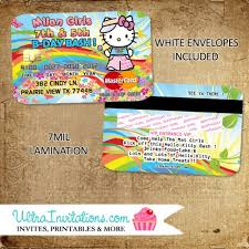 Credit Card Party Invitations Hello Kitty Credit Card Invitations Birthday Party Invites Personalized