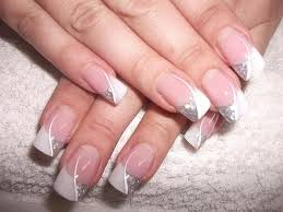 Wedding Manicure With Silver Glittering Nail Polish Nehty