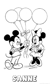Sanne Mickey Mouse Naam Kleurplaat