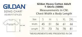 Gildan 5000 Size Chart Gildan Heavy Cotton Adult T Shirts 5000