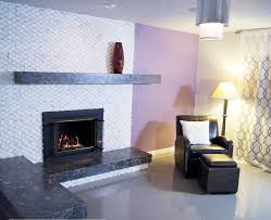 asymmetrical white fireplace purple room contemporary living room