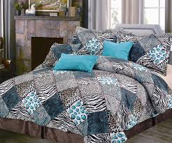 turquoise blue black and white bedding 5 7 pce comforter set