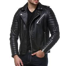 Buy Black Color Quilted Biker Leather Jacket Online @ Best Price & Slim Fit, Jackets, Men, Apparel, All Products, Bareskin, Bareskin black  Color genuine leather Quilted Biker Leather Jacket for men . , , Silver  Shine ... Adamdwight.com