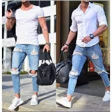 jeans plo rasgados para hombres