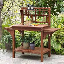 solid wood potting bench with flip up