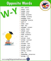 Summer Word List Alphabetical Opposite Word List W Y Archives English