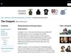 the tempest study questions essay topics th higher ed  the tempest study questions essay topics interactive
