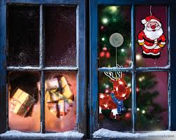 Led Fensterbild Weihnachtsmann Bunt Glitzer Fensterdeko Beleuchtet 265x18 Cm