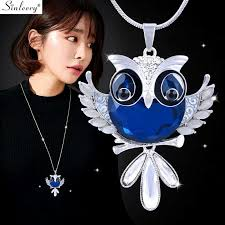 cute opal owl animal long pendant